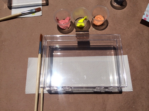 // Lucite Clutch ready to be painted //